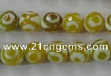 CAG6389 15 inches 12mm faceted round tibetan agate gemstone beads