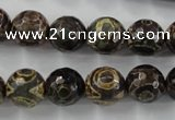 CAG6400 15 inches 14mm faceted round tibetan agate gemstone beads