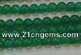 CAG6602 15.5 inches 3mm round green agate gemstone beads