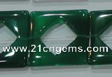 CAG6642 15.5 inches 25*25mm square green agate gemstone beads