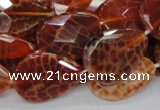 CAG672 15.5 inches 20*30mm faceted flat teardrop natural fire agate beads