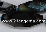 CAG6917 15.5 inches 18*65mm faceted rice line agate beads