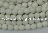 CAG7185 15.5 inches 3mm faceted round white agate gemstone beads
