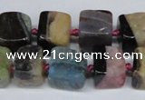 CAG7379 15.5 inches 11*12mm - 12*13mm cube dragon veins agate beads