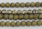 CAG7446 15.5 inches 6mm round plated druzy agate beads wholesale