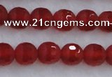 CAG7457 15.5 inches 8mm faceted round matte red agate beads