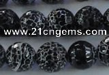 CAG7605 15.5 inches 14mm faceted round frosted agate beads wholesale