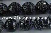 CAG7606 15.5 inches 16mm faceted round frosted agate beads wholesale