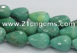 CAG7877 15.5 inches 10*14mm faceted teardrop grass agate beads