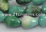 CAG7879 15.5 inches 13*18mm faceted teardrop grass agate beads