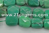 CAG7911 15.5 inches 12*12mm faceted square grass agate beads