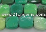 CAG7913 15.5 inches 15*15mm faceted square grass agate beads