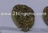 CAG7990 Top drilled 30*40mm flat teardrop plated white druzy agate beads