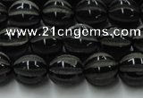CAG8001 15.5 inches 10mm carved round black agate beads