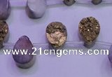 CAG8103 Top drilled 10*14mm teardrop glod plated druzy agate beads