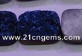 CAG8266 Top drilled 20*30mm rectangle blue plated druzy agate beads
