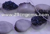CAG8306 7.5 inches 15*20mm teardrop blue plated druzy agate beads