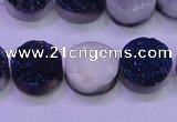 CAG8366 7.5 inches 16mm coin blue plated druzy agate beads