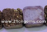 CAG8428 7.5 inches 28*28mm square gold plated druzy agate beads