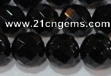CAG8616 15.5 inches 18mm faceted round black agate gemstone beads