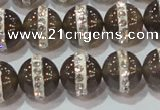 CAG8627 15.5 inches 12mm round grey agate with rhinestone beads