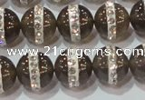CAG8628 15.5 inches 14mm round grey agate with rhinestone beads