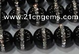 CAG8632 15.5 inches 12mm round black agate with rhinestone beads