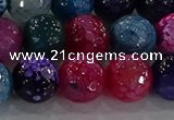 CAG8946 15.5 inches 8mm faceted round fire crackle agate beads