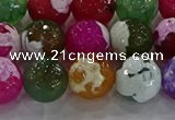 CAG8958 15.5 inches 12mm faceted round fire crackle agate beads