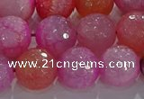 CAG8966 15.5 inches 12mm faceted round fire crackle agate beads