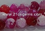 CAG8973 15.5 inches 10mm faceted round fire crackle agate beads