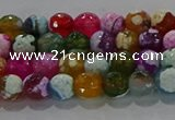 CAG8986 15.5 inches 4mm faceted round fire crackle agate beads