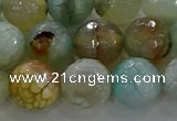 CAG8997 15.5 inches 12mm faceted round fire crackle agate beads