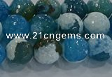 CAG9001 15.5 inches 8mm faceted round fire crackle agate beads