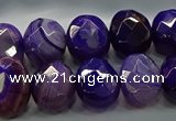 CAG9043 15.5 inches 12*16mm faceted oval line agate beads