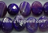 CAG9049 15.5 inches 13*18mm faceted oval line agate beads