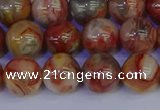 CAG9103 15.5 inches 10mm round red crazy lace agate beads