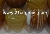CAG9217 15.5 inches 16mm faceted round line agate gemstone beads