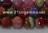 CAG9265 15.5 inches 10mm faceted round line agate beads wholesale