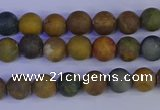 CAG9280 15.5 inches 4mm round matte ocean jasper beads wholesale