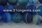 CAG9333 15.5 inches 10mm round matte line agate beads wholesale