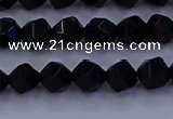 CAG9351 15.5 inches 6mm faceted nuggets black agate beads