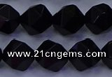 CAG9354 15.5 inches 12mm faceted nuggets black agate beads