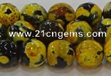 CAG9454 15.5 inches 12mm faceted round fire crackle agate beads