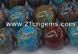 CAG9476 15.5 inches 14mm round blue crazy lace agate beads