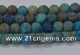 CAG9492 15.5 inches 4mm round matte blue crazy lace agate beads