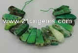 CAG9726 Top drilled 15*35mm - 18*40mm freeform grass agate beads