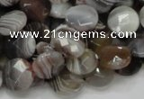 CAG977 15.5 inches 14mm faceted coin botswana agate beads wholesale