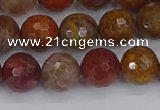CAG9847 15.5 inches 8mm faceted round red moss agate beads