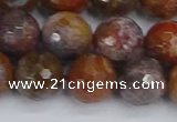 CAG9848 15.5 inches 10mm faceted round red moss agate beads